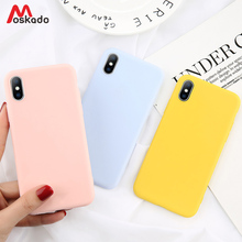 Moskado Candy Solid Color Phone Case For iphone 7 8 6 6s Plus Ultra Thin X XS Max XR Yellow Black Soft TPU Cover