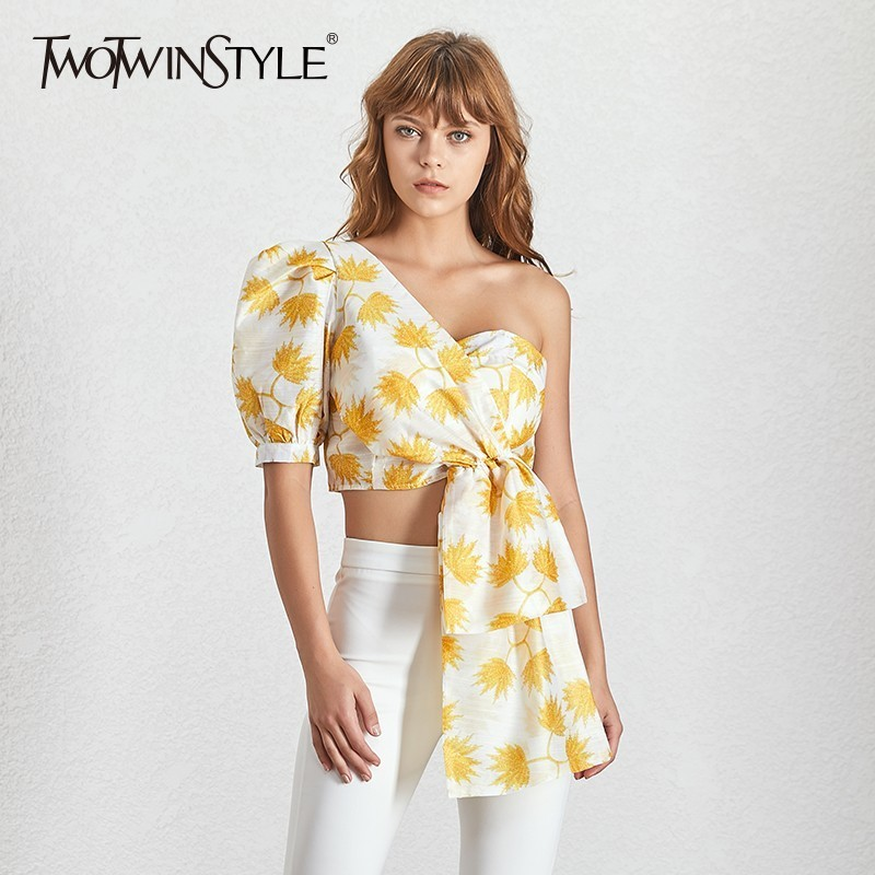 TWOTWINSTYLE Casual Print Shirt For Women Puff Sleeve Off Shoulder Irregular Crop Tops Female Summer 2019 Fashion Clothes New