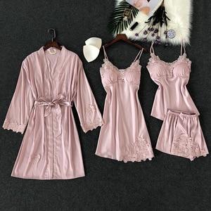 Image 2 - 4 Pcs Lace Sexy Women Pajamas Sets Spaghetti Strap With Chest Pad Night Shorts With Belt Cardigan Set Sleepwear