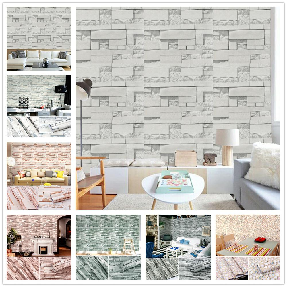 Adeeing 10M 3D Brick Grain Background Waterproof Self-adhesive Wall Sticker