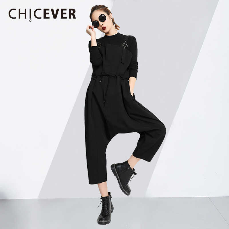 49bd3dc86ff CHICEVER Slim Bandage Woman s Jumpsuits 2018 Summer Lace Up Loose Big Size Wide  Leg Cross-