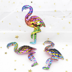 16Pcs 72mm Glitter Rainbow Flamingo Appliques with Sequins Embroider Patches for Clothes Hat Sewing Supplies Hair Clip Decor G54