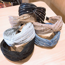Hot Fashion lace headband shiny stars white black bow hair band Knotted Crystal bandage ribbon wide side charm accessories