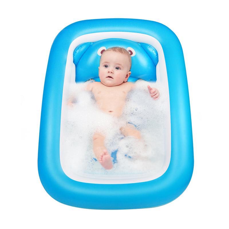 Baignoire bébé nouveau-né bébé baignoire gonflable pliable grande piscine de bain épaissie pataugeoire pour s'asseoir et couché - 2
