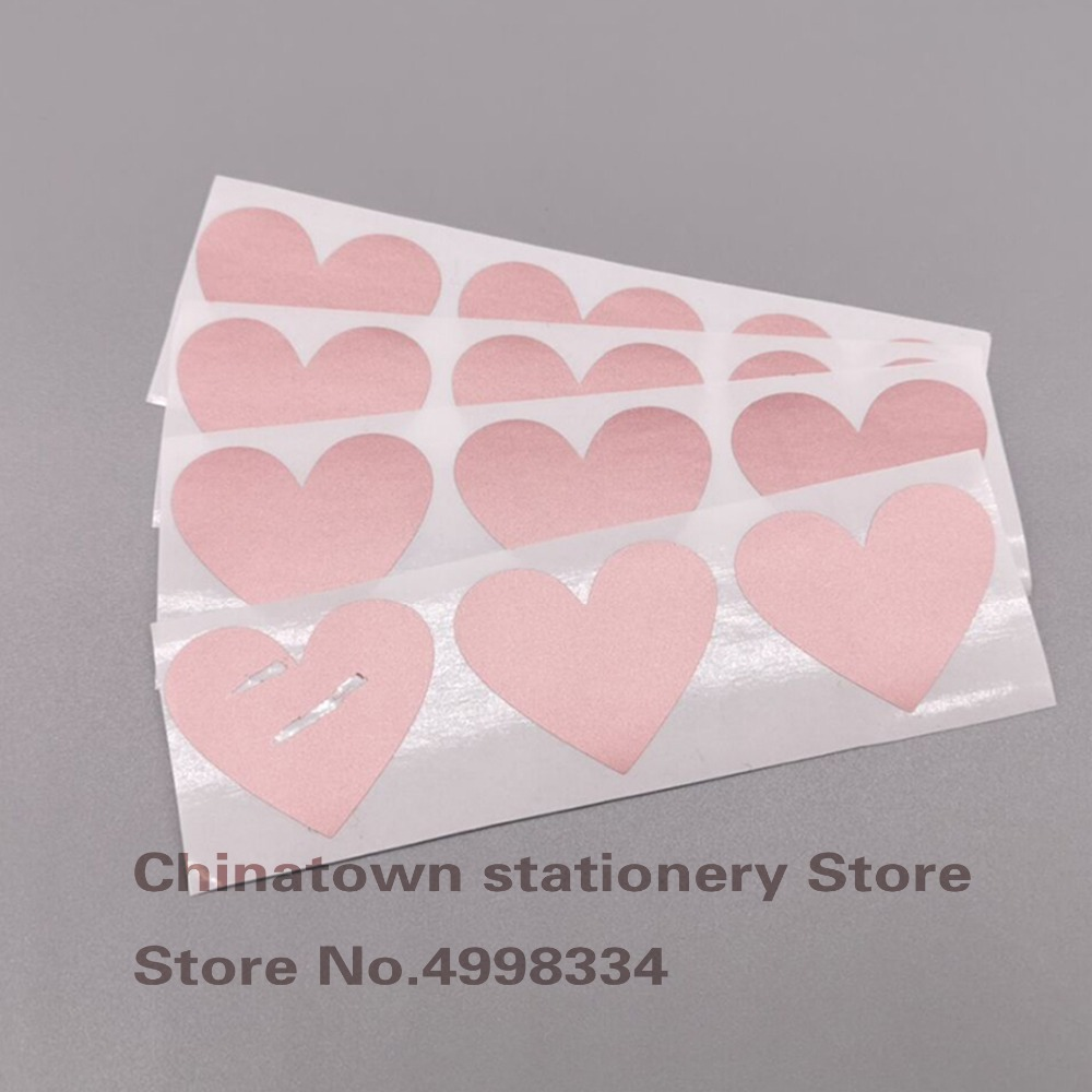 50pcs Scratch Off Stickers 30x35mm Love Heart Shape  Rosd Gold Color Blank For Secret Code Cover Home Game Wedding Message