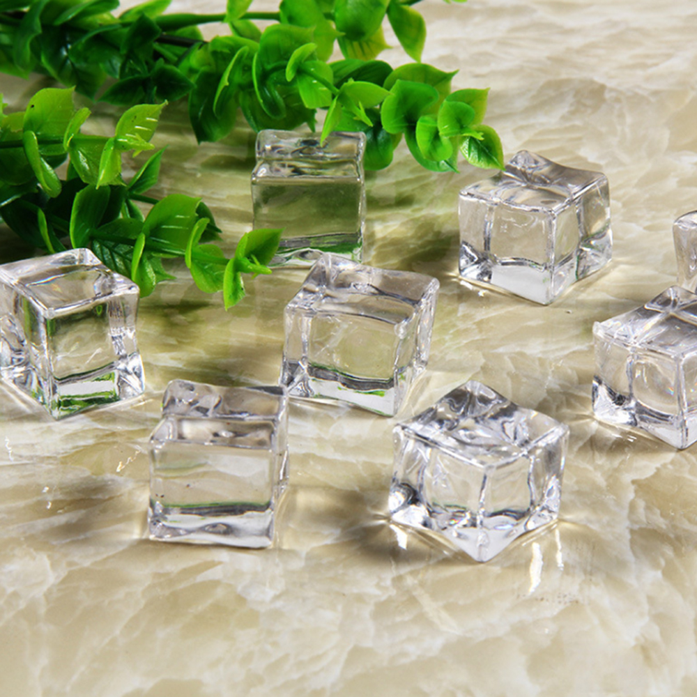5Pcs Reusable Fake Ice Cubes Artificial Acrylic Crystal Cubes Party Decor Whisky Drinks Display Photography Prop 25mm