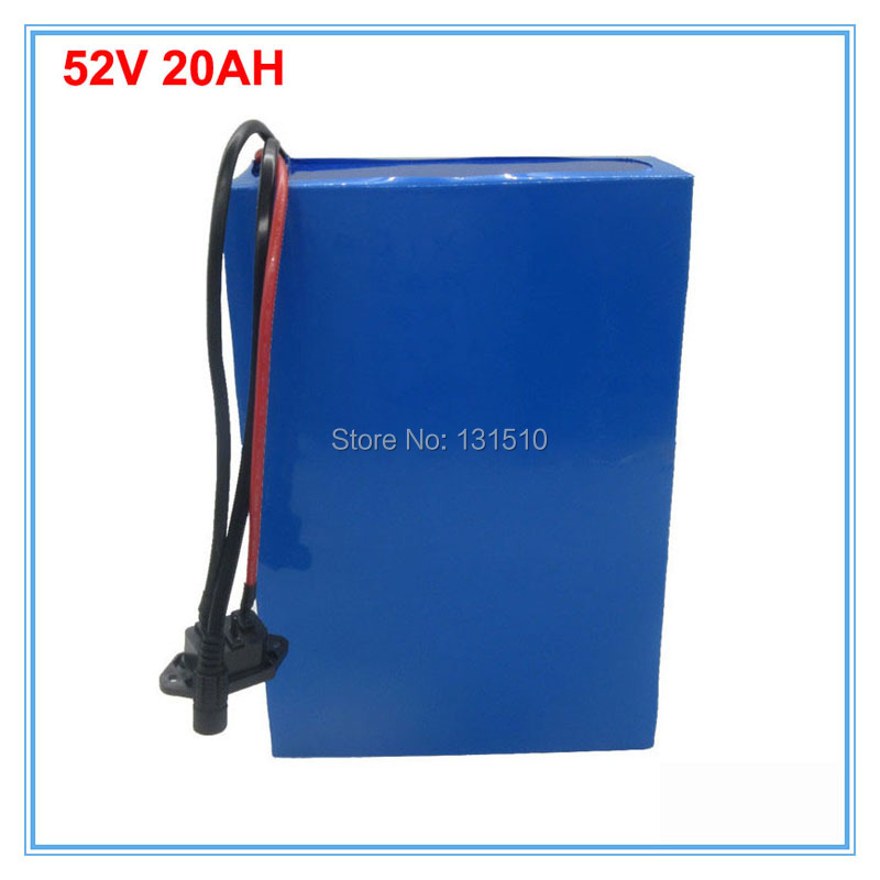 1500W 52V 20AH Electric Bike battery 51.8V 20AH Lithium battery with PVC case 30A BMS 58.8V 2A charger free shipping