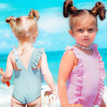 One Piece Swimwear 2018 Toddler Kid Girl Striped Swimwear Ruffles Swimsuit Bikini Bathing Suit Beachwear Swimming Suit For Girls недорого