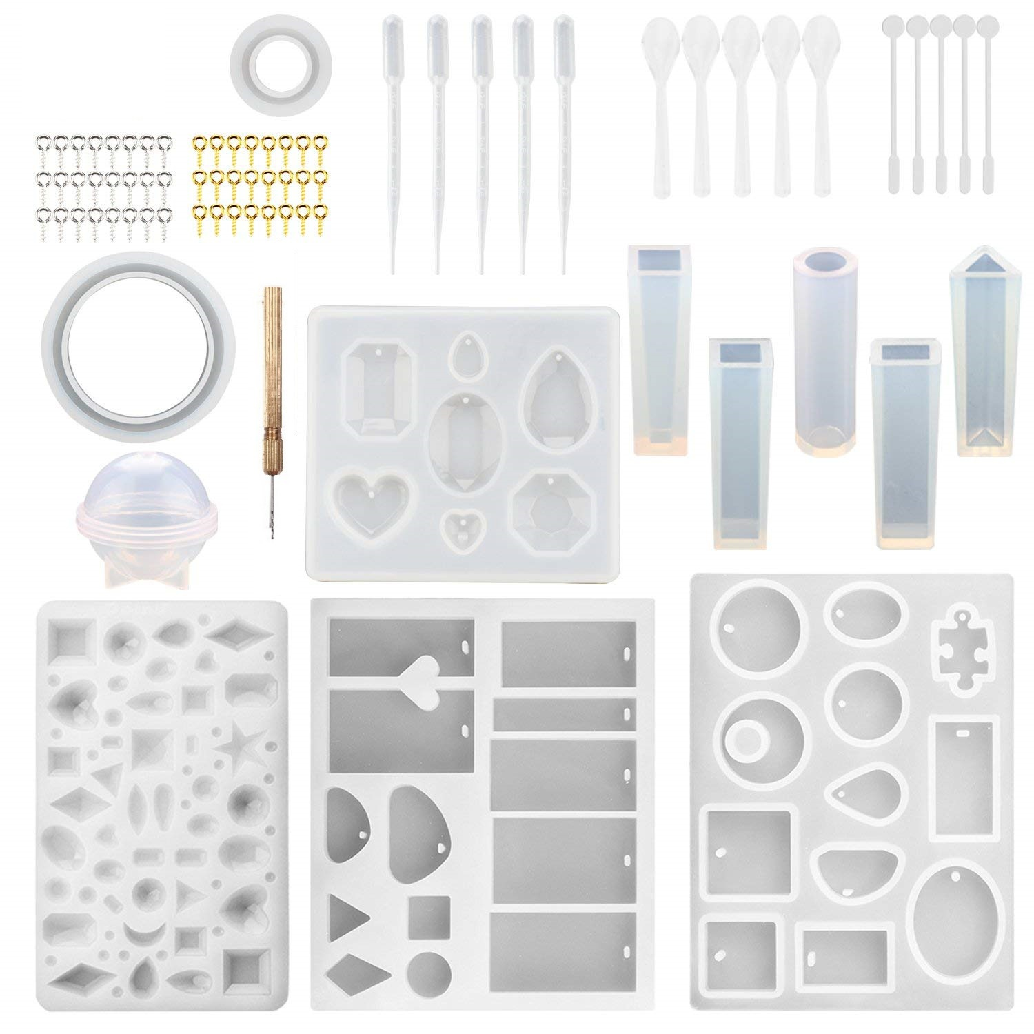 76Pcs DIY Bracelet Pendant Jewelry Casting Molds  Silicone Resin Jewelry Molds Set DIY Making Tool Crafting Pendant Earrings|Cake Molds| |  - title=