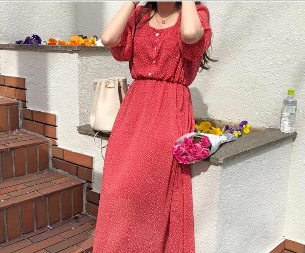 Summer летнее платье для девочек; Повседневное платье Boho OL; повседневное шифоновое в горошек с принтом; женские платья с длинными рукавами; женское платье; Robe femme Vestido