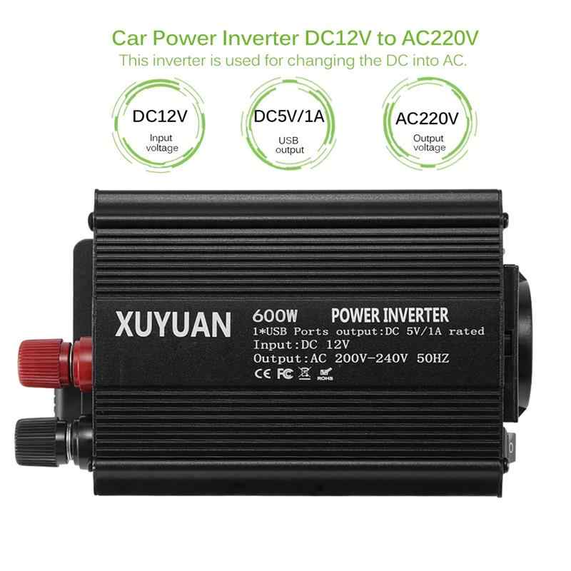 Car Power Converter Inverter Adapter 600W DC12V To AC220V Auto Car Inverter Charger 1 USB Output Interface EU Socket