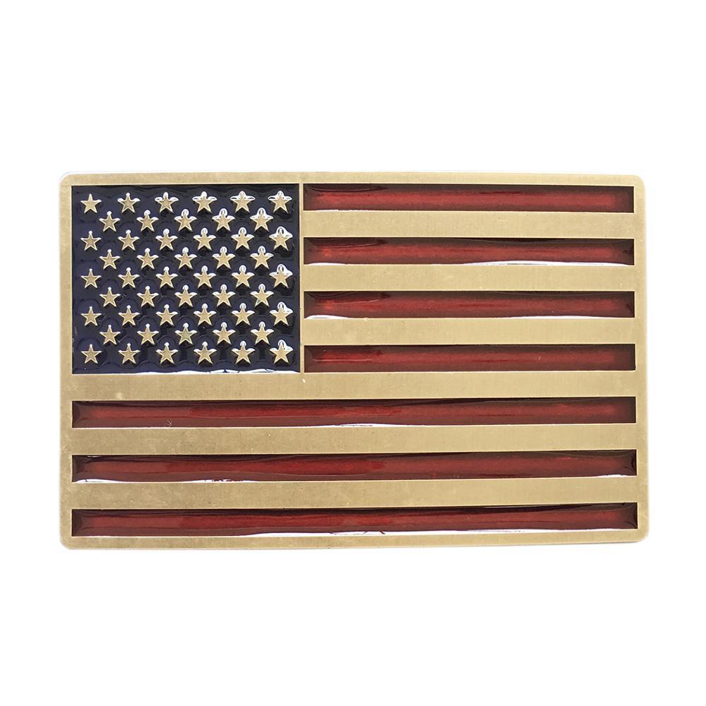 New Vintage Bronze Plated Enamel USA American Flag Belt Buckle Gurtelschnalle Boucle De Ceinture BUCKLE-FG028ABE Free Shipping