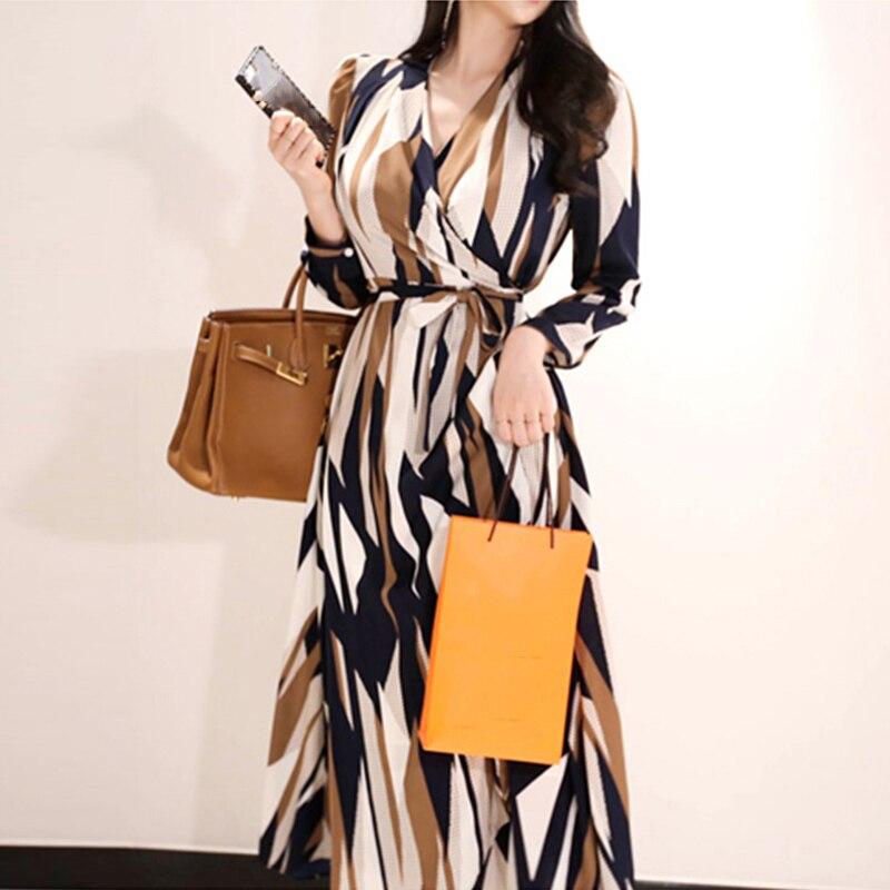 Femmes élégant col en v robe bohème mode imprimer asymétrique dames robe Vintage ceintures manches longues coréen Boho robe