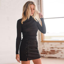 2019 Women High Waist Lace Up Suede Leather Pocket Preppy Casual Short Mini Skirts