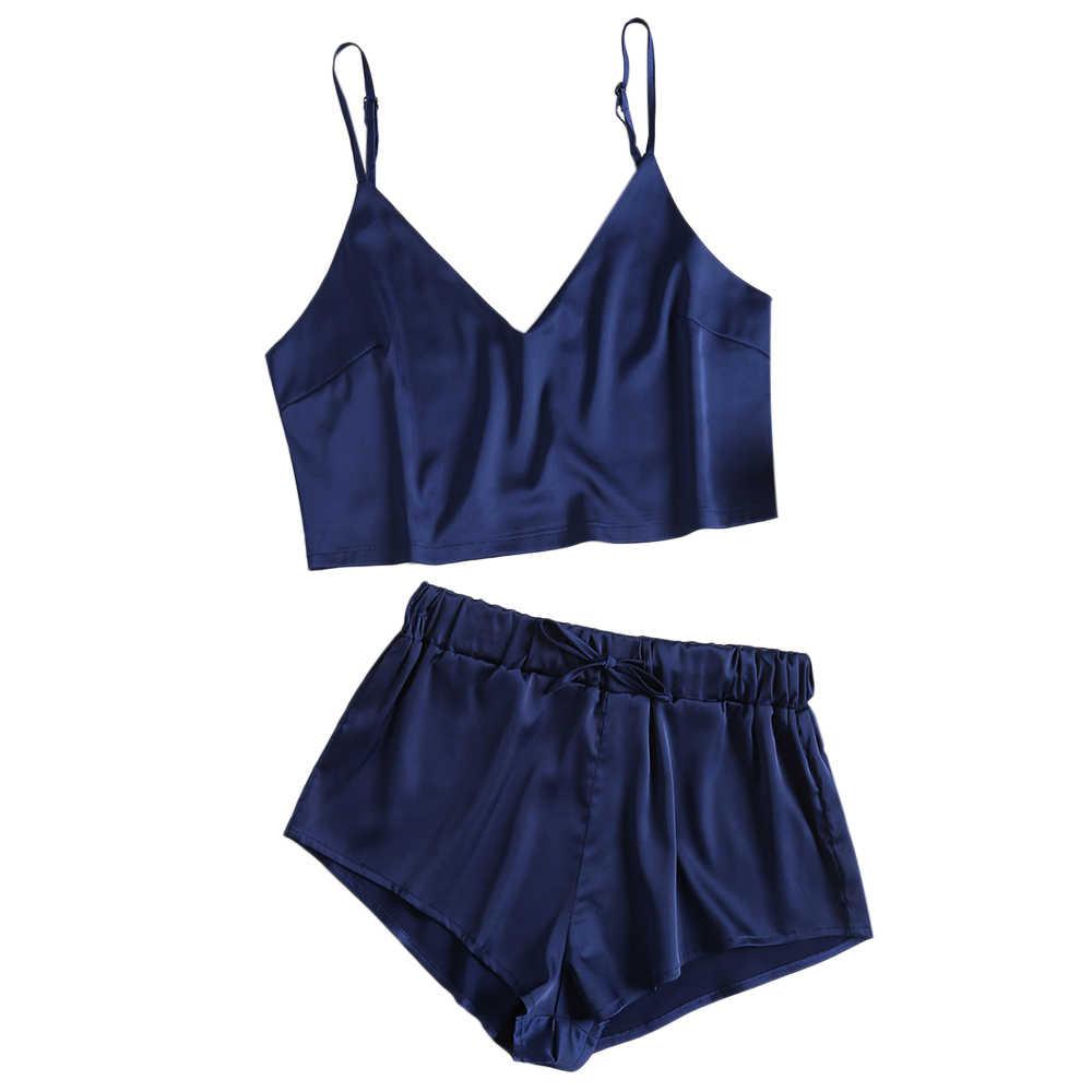 Wipalo Sleeveless Lace Trim Satin Cami And Shorts Pajama Set 2018 New  Burgundy V Neck Sexy ec0fc4961