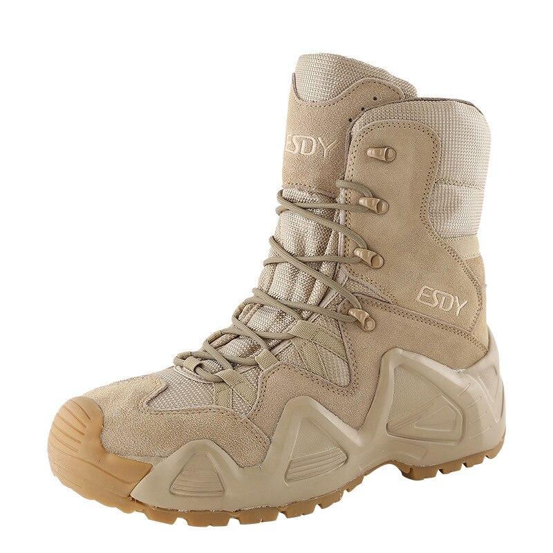 Hommes femmes haut Tube en plein air escalade chaussures de chasse armée Fans Combat formation randonnée antidérapant en cuir résistant à l'usure bottes tactiques