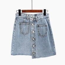 New Fashion Summer Denim Skirt Womens Jeans Skirt  Front Button High Waist Pockets Asymmetrica Skirt Faldas Mujer