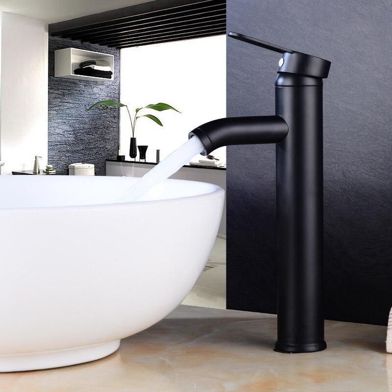 Matt Black Single Handle Bathroom Basin Faucets Cold and Hot Mixer Basin Sink Tap Black Water Kitchen FaucetMatt Black Single Handle Bathroom Basin Faucets Cold and Hot Mixer Basin Sink Tap Black Water Kitchen Faucet