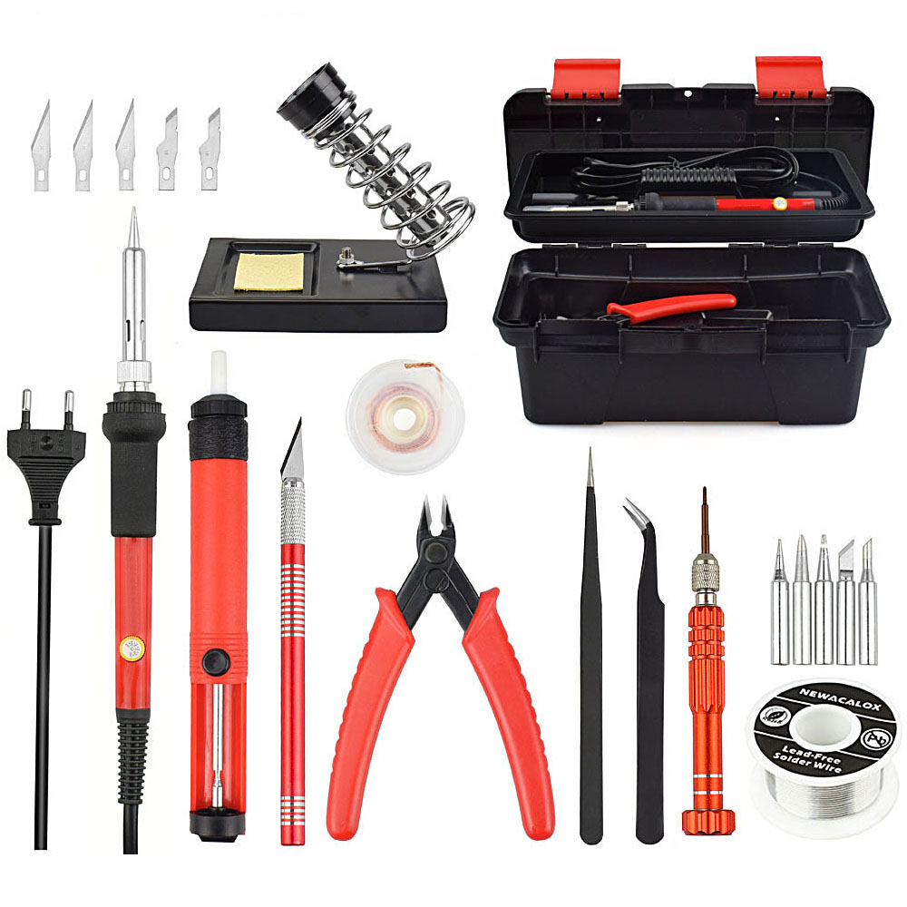 60W Adjustable Temperature Electrical Soldering Iron Kit SMD Welding Repair Tool Set Tool Box 25pcs/lot