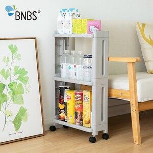Image 3 - BNBS את הסחורה עבור מטבח אחסון מדף מקרר מדף צד 2/3/4 שכבה נשלף עם גלגלי אמבטיה ארגונית מדף בעל פער