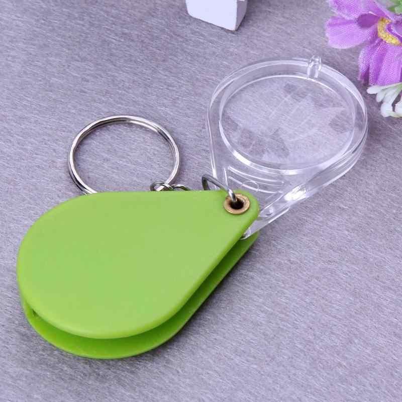 10X Nhựa Mini Kính Lúp Kính Đọc Sách Móc Khóa Gấp Lúp Cầm Tay Kính Lúp Chìa Khóa Phần Dụng Cụ Quang Học