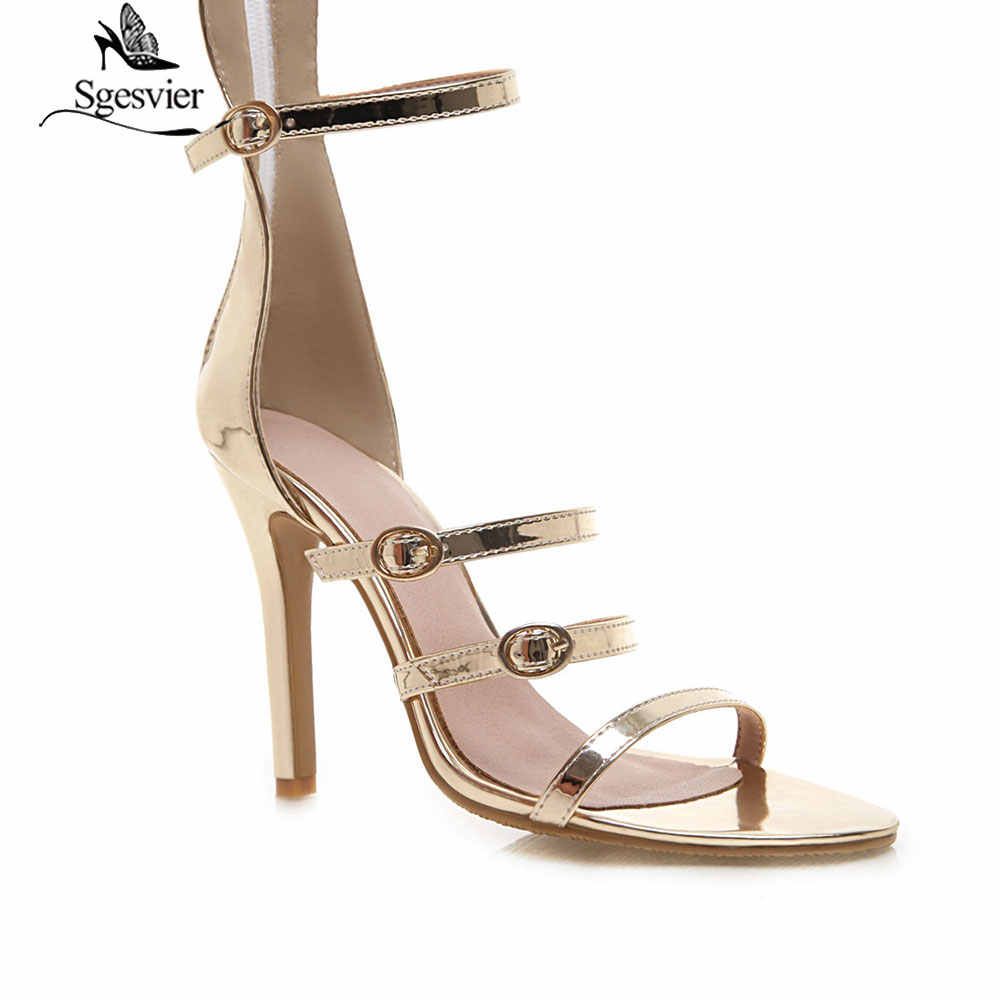 closer at exclusive shoes new cheap Sgesvier Sexy Women Extremely High Heel Gold Patent Strappy Sandals Silver  Knee High Boots Stiletto Heels Evening Dress Shoes