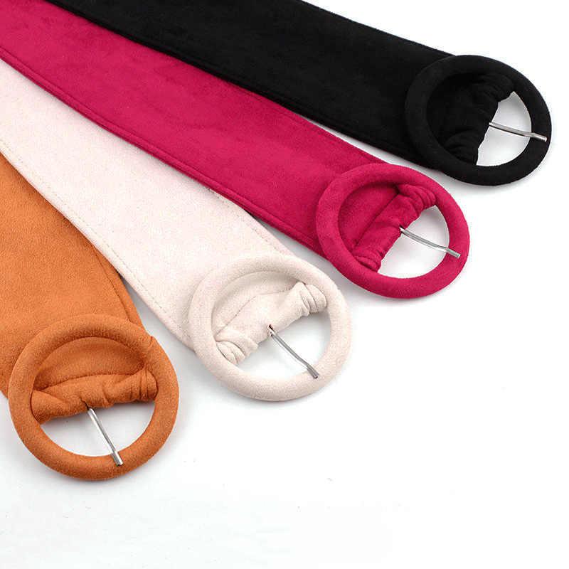 女性のファッションスエード伸縮性ベルトダウンジャケットベルト幅良好なマッチング女性のドレスピンバックルガードルバックルソフトウエストバンド