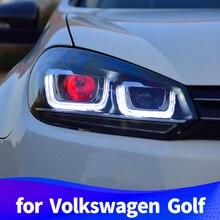 Фара в сборе для Volkswagen Golf 6 2012- модификация светодиодные дневные ходовые огни демон глаза линзы ксеноновая лампа