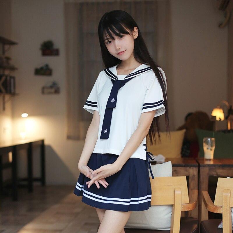 2 pièces mode japonais filles Kawaii uniformes scolaires marin costumes Preppy Style collège jupes femme blanc Cosplay Costume
