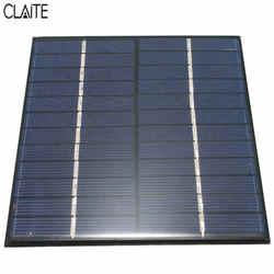 CLAITE 12V 2W 160mA silicona policristalina Mini Panel Solar Módulo de celda para cargador batería de CC DIY 136x110mm calidad al por mayor