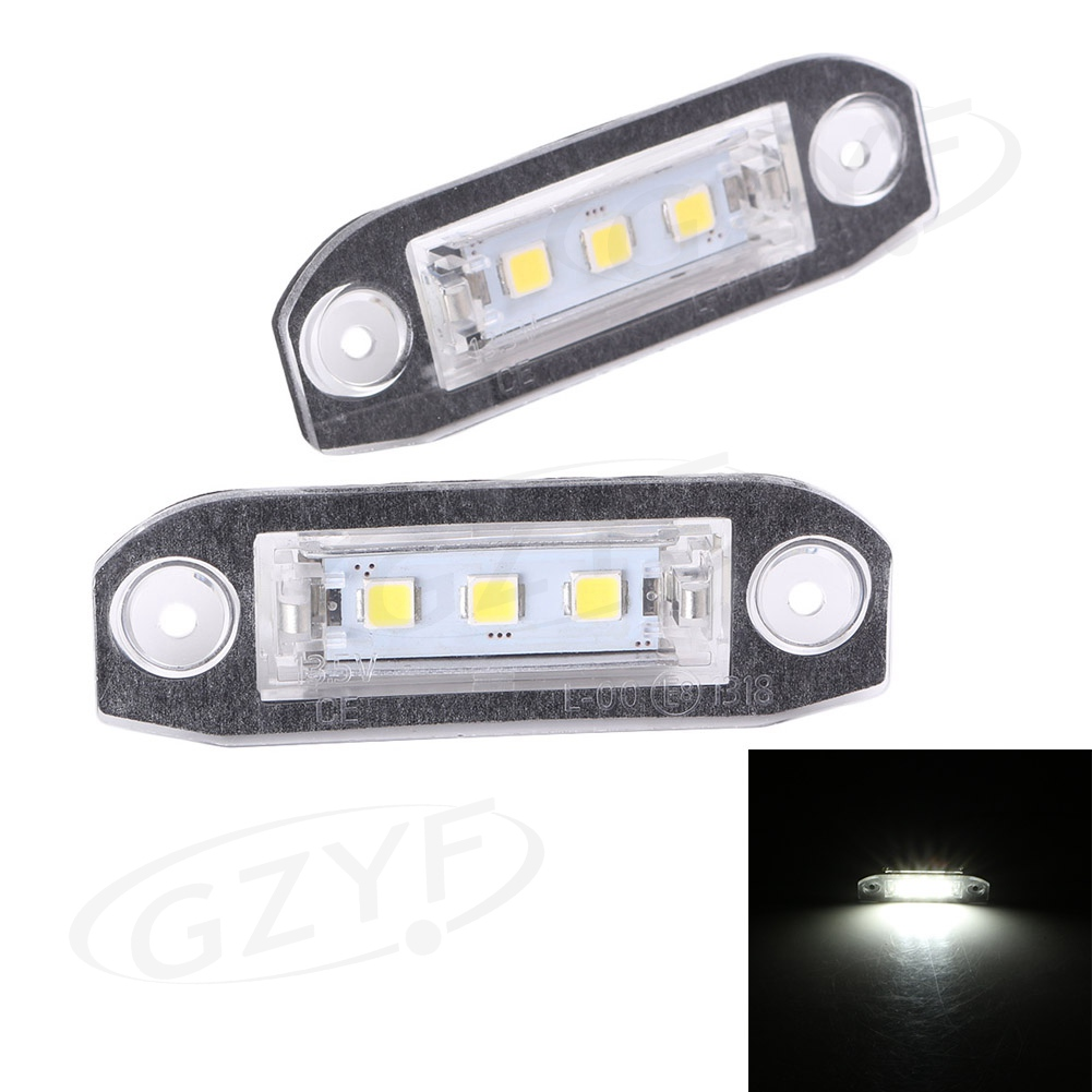 Pair LED <font><b>Rear</b></font> License Number Plate White <font><b>Light</b></font> Lamp For <font><b>Volvo</b></font> <font><b>S80</b></font> XC90 S40 V60 XC60 S60 V70 C70 V50 XC70 image