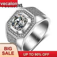 Vecalon hombres compromiso solitario, anillo 3ct AAA Cz AAAAA de piedra de circón 10KT llena de oro blanco anillo de boda para hombres Sz 7-13