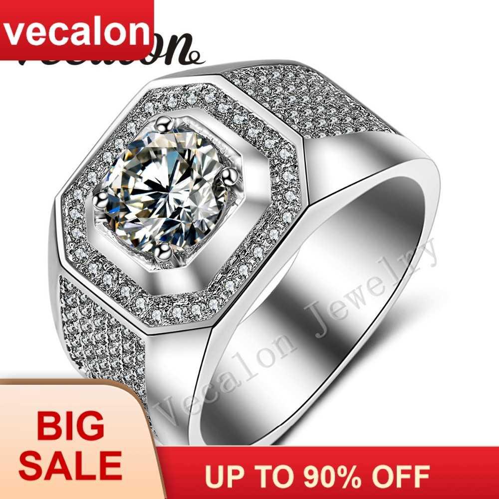 Vecalon ผู้ชายแหวนหมั้นแหวน Solitaire 3ct AAA CZ AAAAA หินเพทาย 10KT สีขาวทองสำหรับผู้ชาย sz 7-13