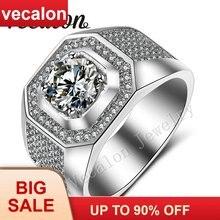 Мужское обручальное кольцо vecalon с Т образным камнем 3 карата