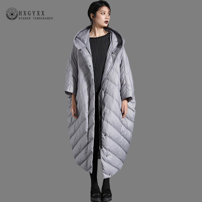 2019 Long Cocoon White Duck   Down   Jacket Woman Parka Causal Goose Feather   Coat   Plus Size Loose Hooded Outerwear Clothes Okd678