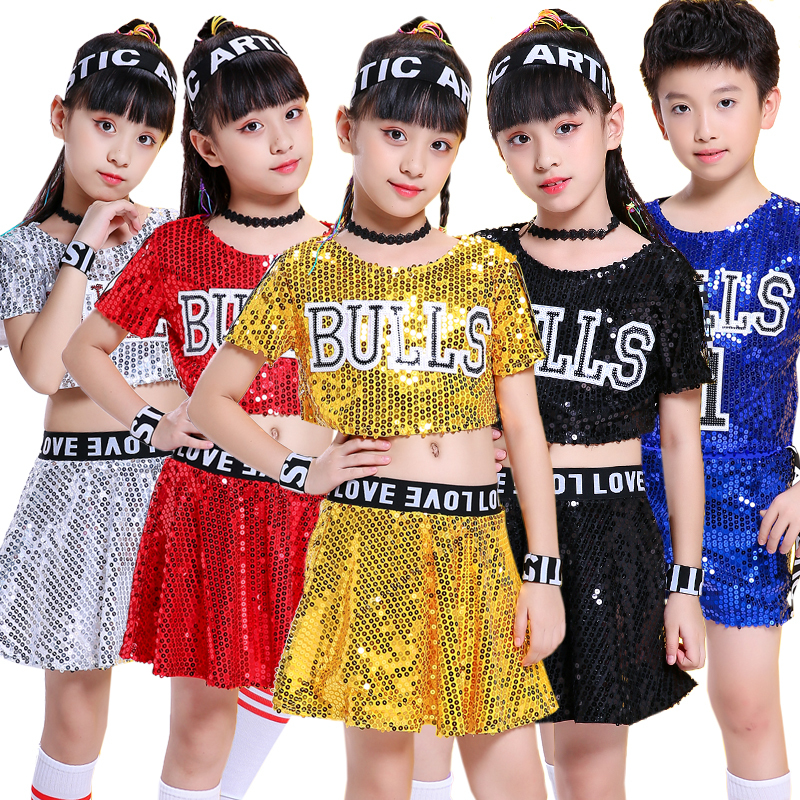 Songyuexia Children's Jazz Suit New Sequins Cheerleading Costume Girls Hip-hop Modern Dress