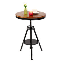 Bistro Bar Stool Vintage Round Dining Table Wooden Industrial Bar Cafe Coffee Furniture Adjustable Height Outdoor Decoration(China)