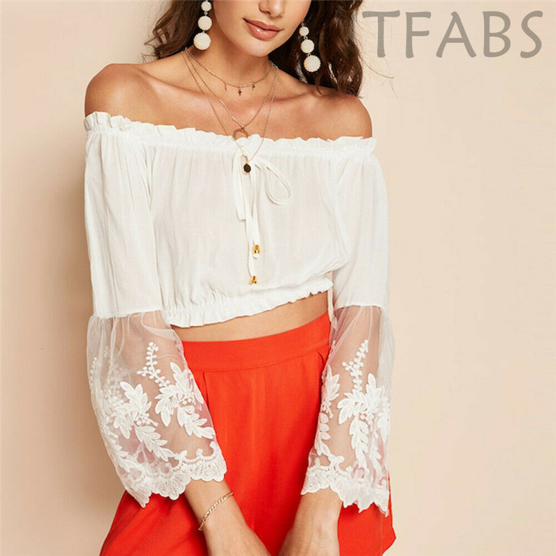 Back To Search Resultswomen's Clothing Women Sexy Cold Shoulder Ruffle Bandage White Blouses Crop Top Vest Summer Floral Lace Long Sleeve Blouses Lady Chic Shirts New Selling Well All Over The World