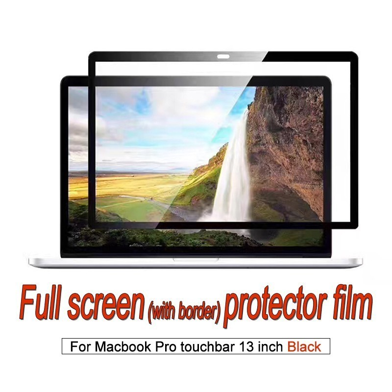 Screen protector For MacBook Pro touchbar 13 inch Laptop Full Screen Film dust-proof anti-scratch HD Clear membrane-Black Frame.