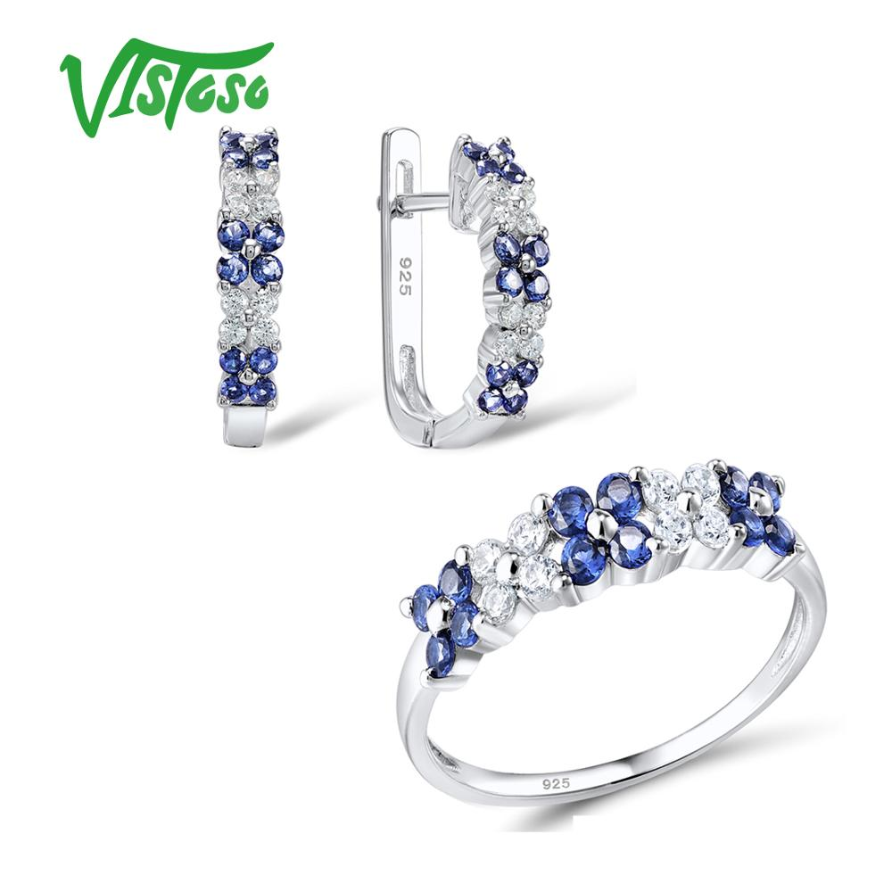2019 Neuer Stil Vistoso Schmuck Sets Für Frau Blau Zirkonia Weiß Cz Schmuck Set Ohrringe Ring 925 Sterling Silber Mode Edlen Schmuck