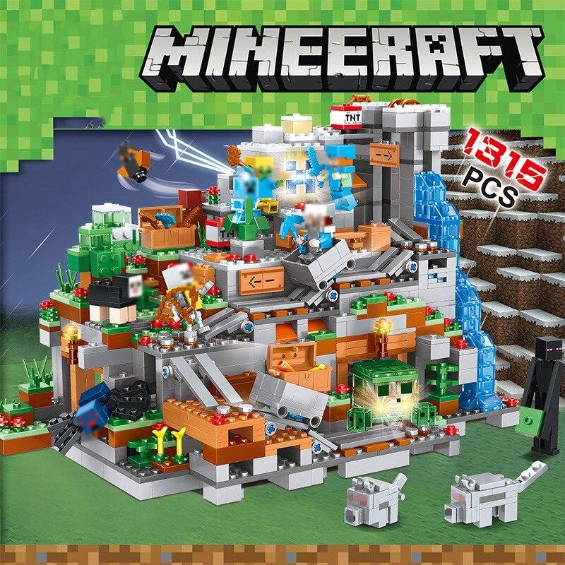 1315 pièces Mon Monde Mécanisme Grotte blocs de construction Compatible Legoed Minecrafted Aminal Alex figurines d'action jouets briques Pour Enfants