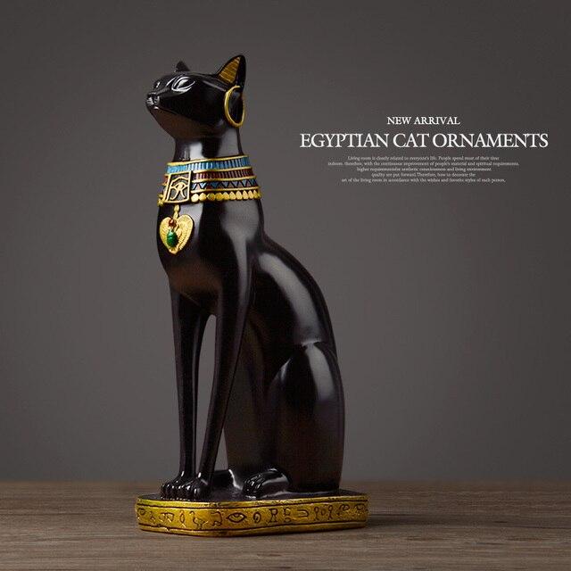 Egyptian Cat resin craft vintage home decor Modern Vintage Baster goddess god pharaoh figurine statue for table ornaments Gift 2