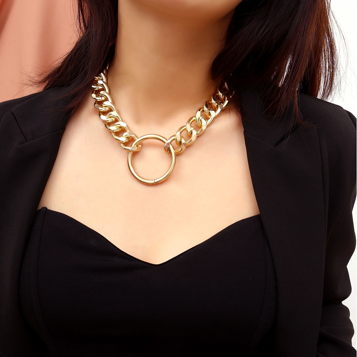 KingDeng Punk Exaggerated Chain Item Decorated Female Simple Geometric Circle Retro Necklace Hiphop Choker Gold Chain 2019
