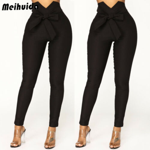 Fashion Women's High Waist Casual Trousers Ladies Party Long Slim Skinny Pants Bandage Elastic Pencil Trousers With Sashes