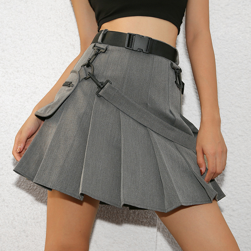 Femmes Sexy fille école Mini jupe plissée gothique une ligne ceinture poche courte robe ruban Harajuku Streetwear Hippie été