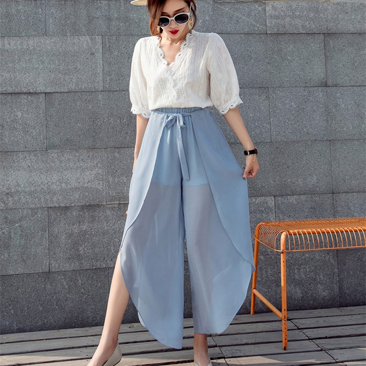 2019 Summer Chiffon High Waist   Pants   Women Boho Beach Elastic Ruffle   Wide     Leg     Pants   Bow Casual Loose Trousers