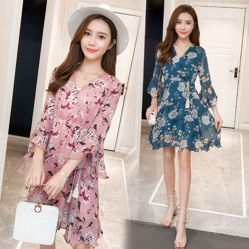 New Women dress Flare Sleeve Print Chiffon V-Neck Have A Waist Dresses Pink Blue 3332 2