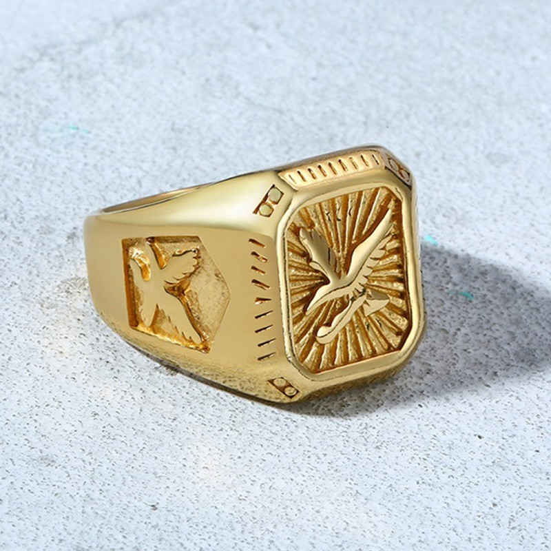 Men's Hawk Signet Ring With Double Eagle Golden Color Medieval Stainless Steel Husband Gift