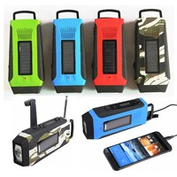LEORY Red Outdoor Radio Survival Solar Self Powered AM FM NOAA Weather Radio Phone Power Bank for Adventure Camping