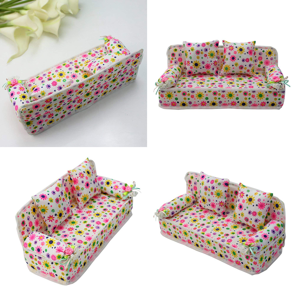 Mini Floral Sofa Baby Girl's Toy Craft Toys Children Gifts Cloth Bench Miniatures Doll House Furniture Doll House Sofa
